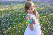 Kind Mit Ostereiern Zwischen Krokusblüten