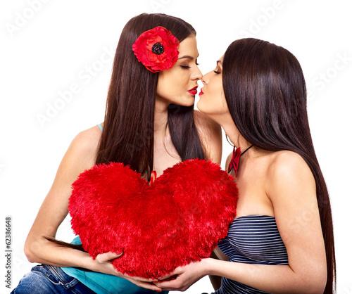 Redhead lesbians kissing