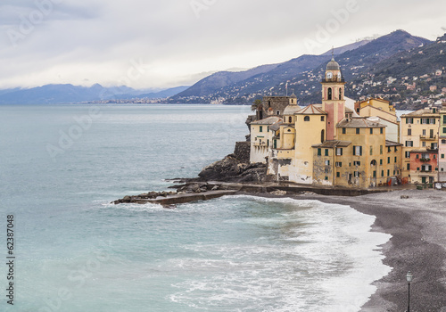 Poster Ligurie church and seaside in Camogli, Italy