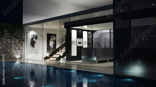 Fotografie, Obraz  3D Luxus-Einfamilienhaus