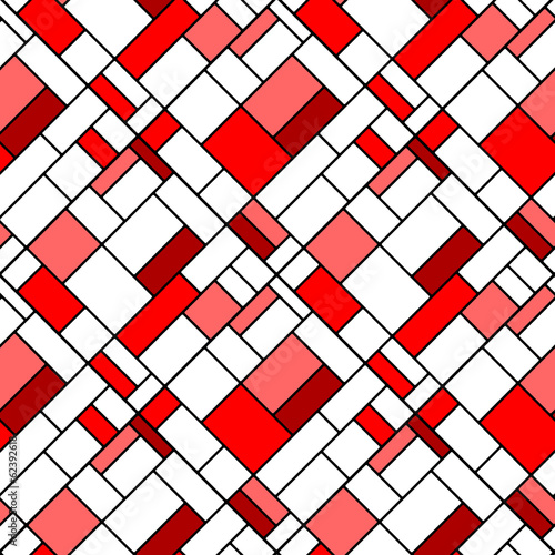 Naklejka na szybę Colorful diagonal geometric squares seamless pattern in red