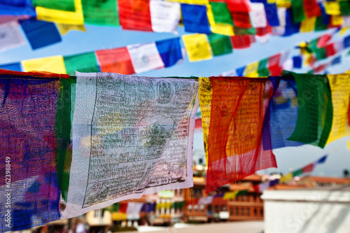 Fotografie, Obraz  close up of prayer flags in Kathmandu, Nepal