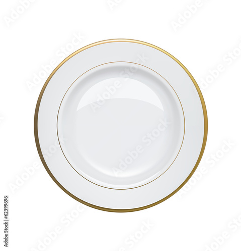 Fotografie, Obraz  White plate with gold rims on white background. Vector illustrat