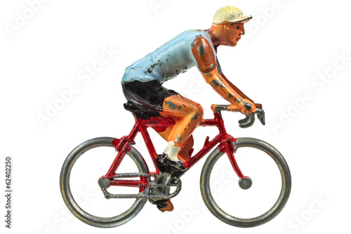 Aluminium Prints Bicycle Vintage miniature sport cyclist isolated on white