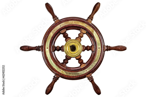 Photo Stands Ship Vintage ship steering wheel rudder isolated on white
