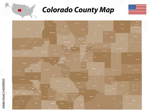 Colorado County Map Poster