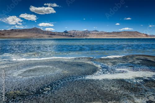 Poster Bleu nuit Himalayan lake Tso Kar in Himalayas, Ladakh, India