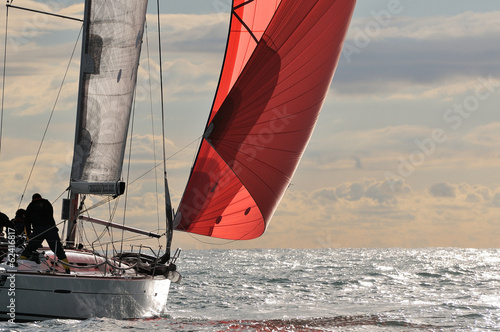 Fotografie, Obraz  red sail at sunset