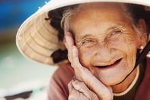 Old And Beautiful Smiling Seni...