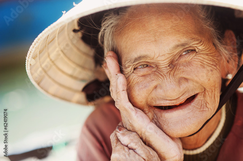 Old and beautiful smiling senior woman. Poster