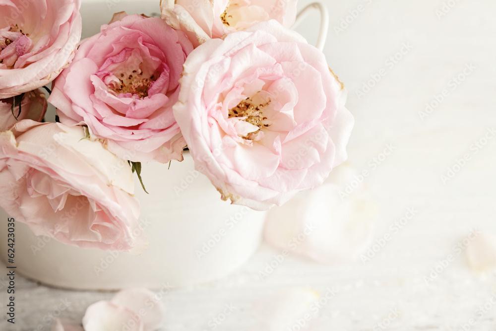 Pink Flowers In A Vase Foto Poster Wandbilder Bei Europosters