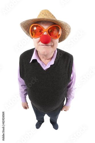 Fotografie, Obraz  Funny fisheye portrait of the cheerful elderly man