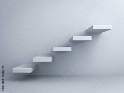 Foto op Plexiglas Trappen Abstract stairs or steps concept on white wall background