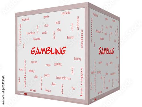 фотография  Gambling Word Cloud Concept on a 3D cube Whiteboard
