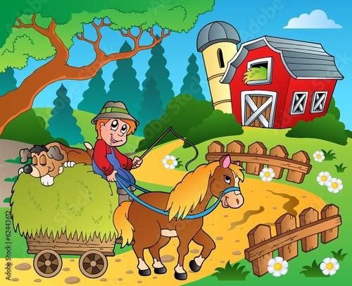 Deurstickers Pony Farm theme with red barn 8