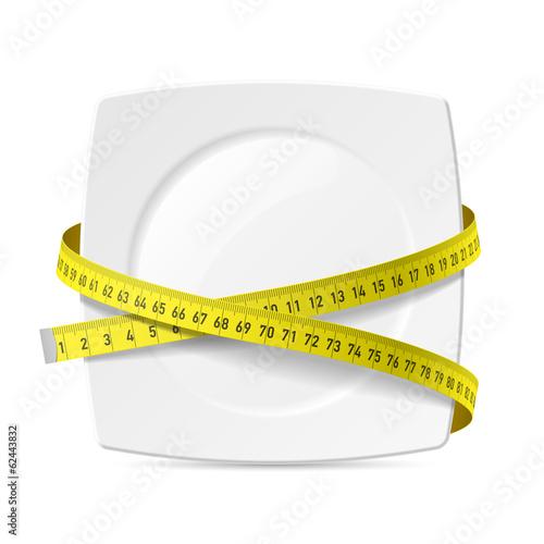 Obraz Plate with measuring tape - diet theme - fototapety do salonu