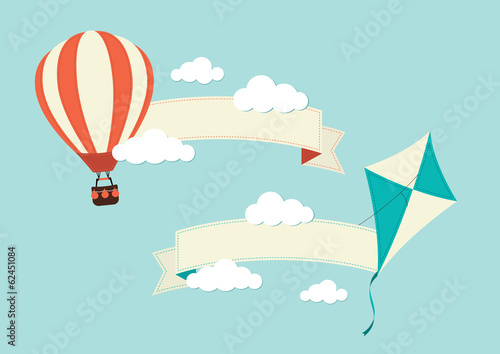 Fotografie, Obraz  Banners with Kite and Hot Air Balloon