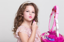 Cute Little Girl With Lipstick Applying Makeup, Glamour Kid
