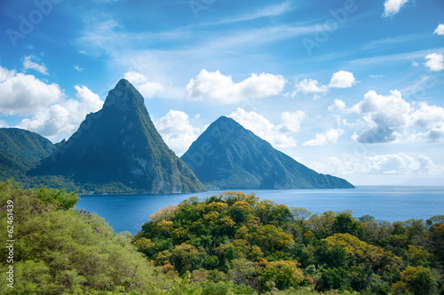 Photo Stands Caribbean Panorama of Pitons at Saint Lucia, Caribbean