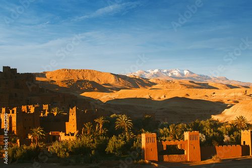 Poster Corail Ait Benhaddou Ksar Kasbah, Morocco, Africa, in sunset