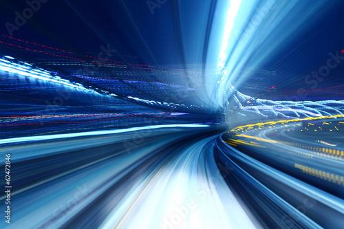 Fotografie, Obraz  Truck light trail of train