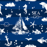 White print boat and fishes on navy blueseamless pattern