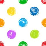 Colorful sponge print polka dot seamless pattern on white