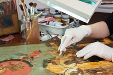 Restoration Of Old Icons In Workshop