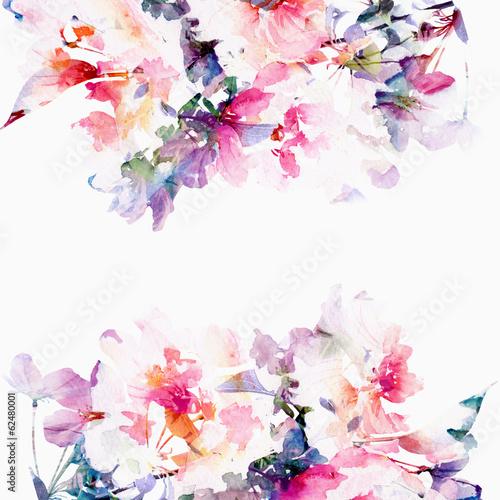 Fotografie, Obraz  Floral watercolor background. Roses.