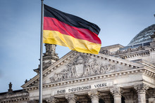 German Flag In Front Of The Reichstag - German Parliament