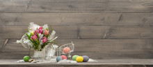 Easter Decoration With Pink Tulip Flowers And Eggs