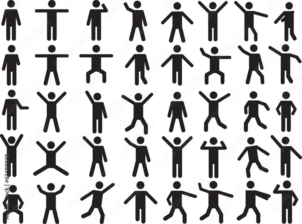 Fototapety, obrazy: Set of active human pictogram illustrated on white background
