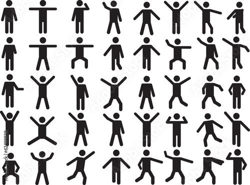 Obraz Set of active human pictogram illustrated on white background - fototapety do salonu