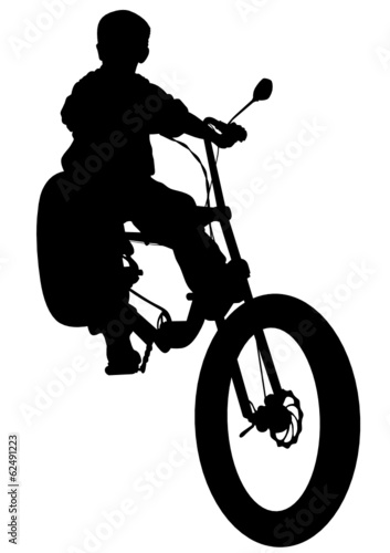 Poster Motorcycle Cyclists little boy