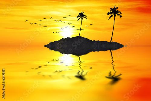La isla del sol Billede på lærred