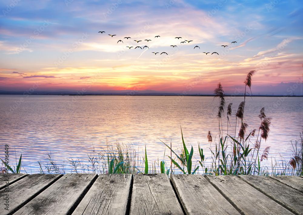 el lago de las nubes de colores Plakat