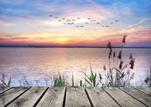 Fotografering  el lago de las nubes de colores