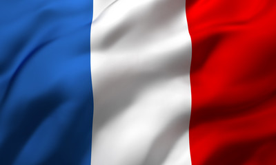 Flag of France blowing in the wind. Full page French flying flag. 3D illustration.