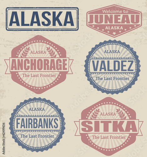 Fotografie, Obraz  Alaska cities stamps