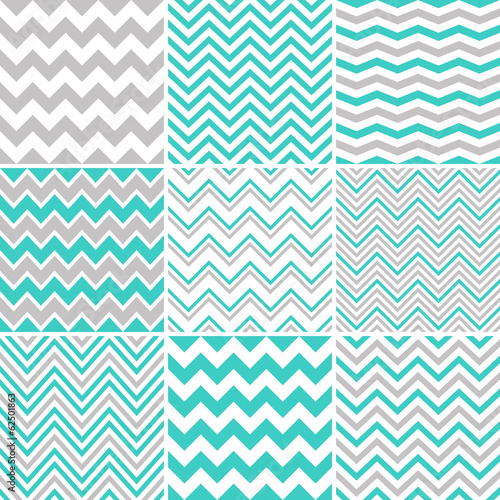 Photo Grey & turquoise chevron seamless patterns
