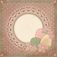 Easter Greeting Card In Vintage Style, Vector Illustration