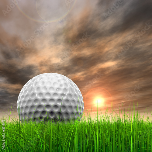 Sunset sky and a golf ball
