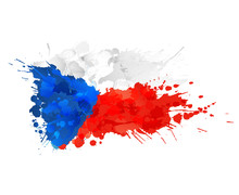 Czech Republic Flag Made Of Colorful Splashes