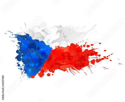 Czech republic flag made of colorful splashes Canvas Print