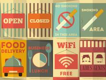 Restaurant Stickers Set