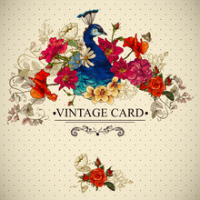 Floral Vintage Card With Peacock