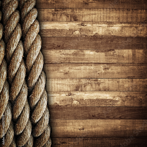 wooden background with rope Poster