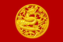 Golden Chinese Dragon On Red W...