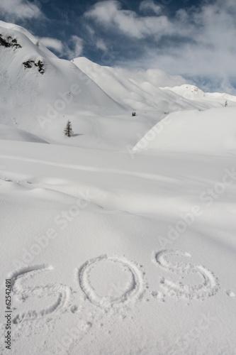 SOS written in the snow Wallpaper Mural