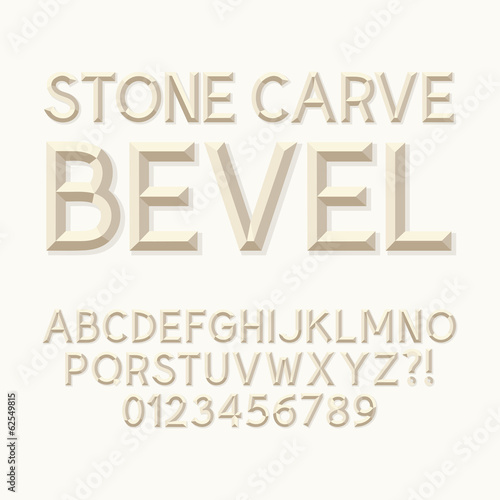 Valokuva Stone Carve Bevel Alphabet and Numbers, Eps 10 Vector Editable